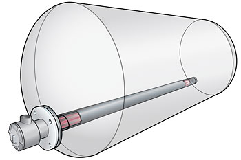Tank with pipe insert heater.